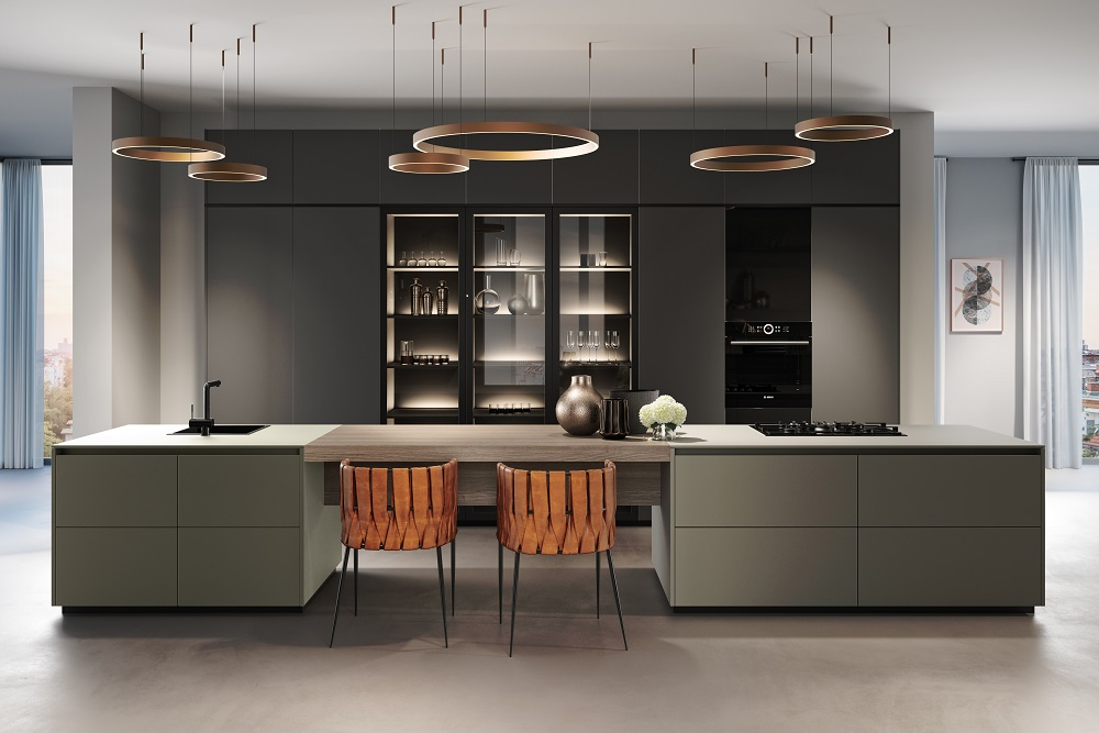 Loohuis_Keukens_Greeploos design donkergrijs oudgroen met zitgedeelte